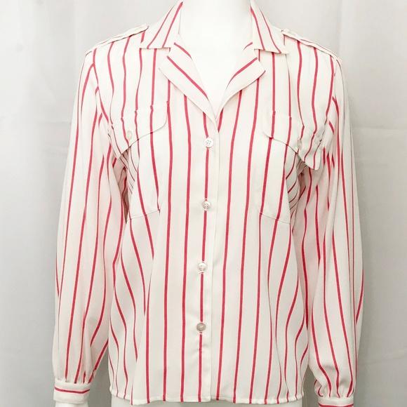 00e1d1e75 Anne Klein Tops   Shirt Nautical Striped White Dark Pink   Poshmark